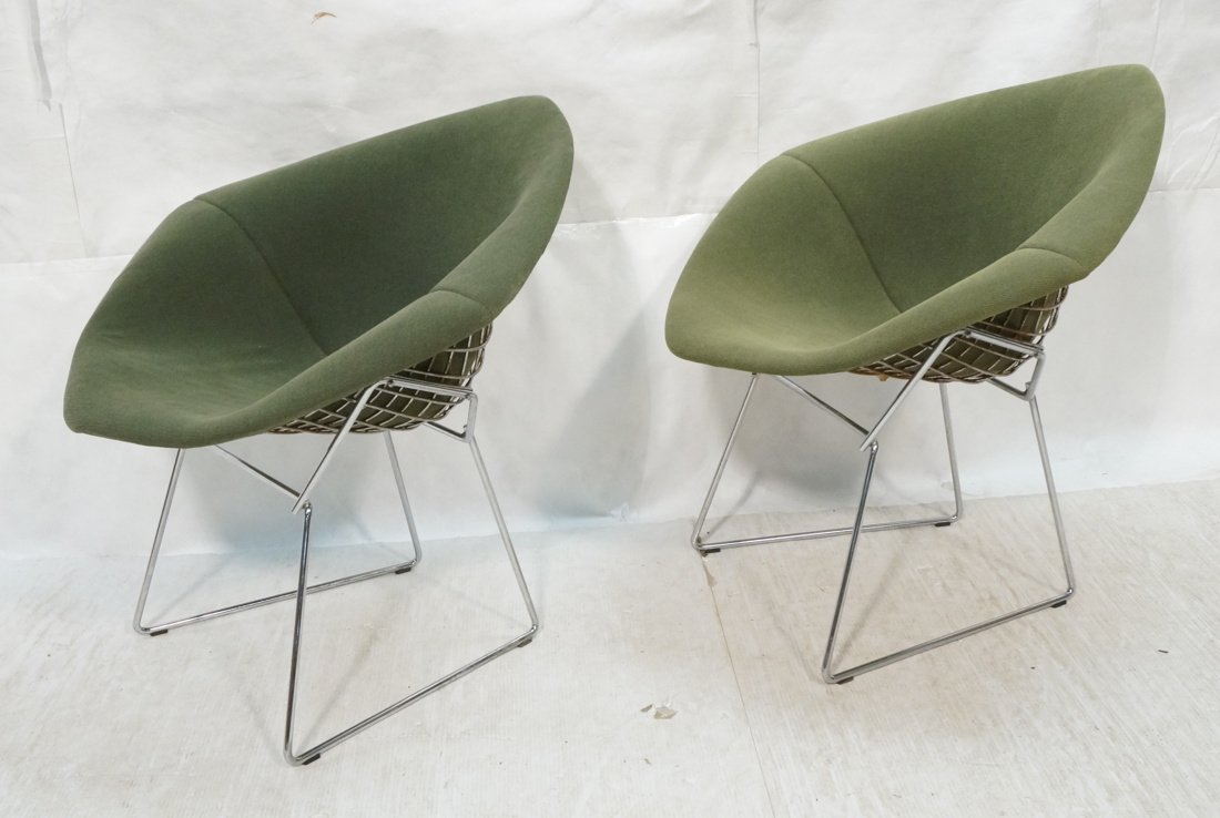 Pr KNOLL Harry Bertoia Diamond Chairs. Chromed st