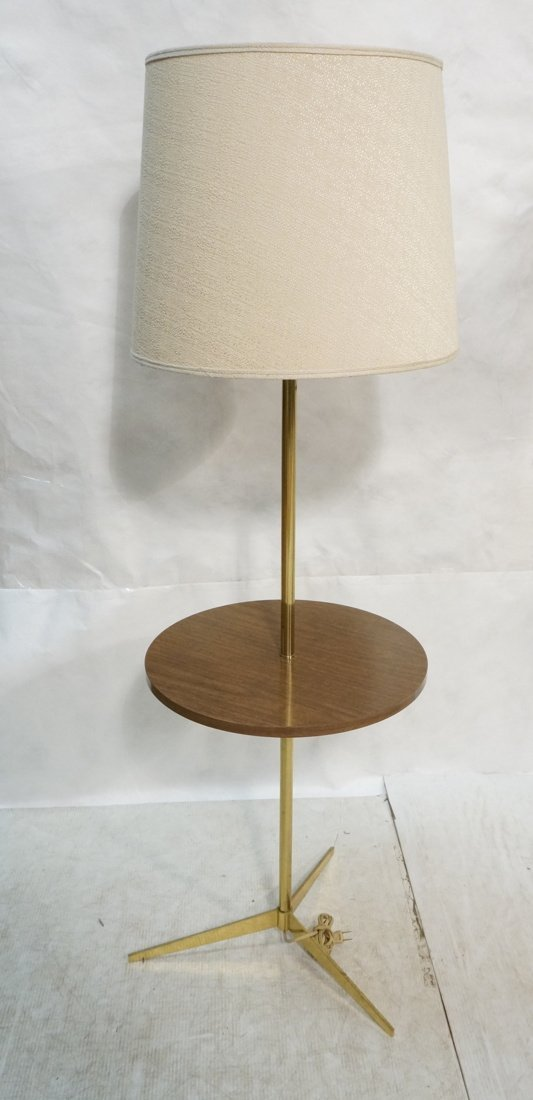 LAUREL Brass Table Floor Lamp. Tripod base. Wood
