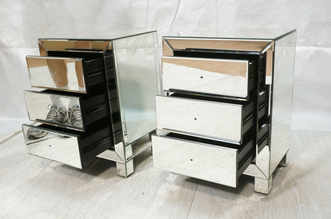 Pr Mirrored Three Drawer Night Stands. Bedside Ta - 2