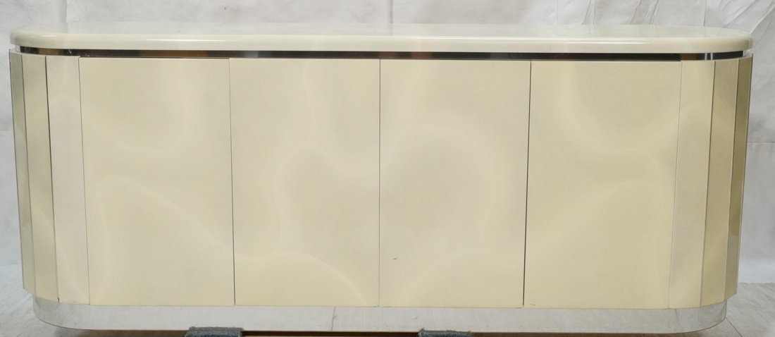 Rounded Side Lacquered Modernist Credenza. Faux g