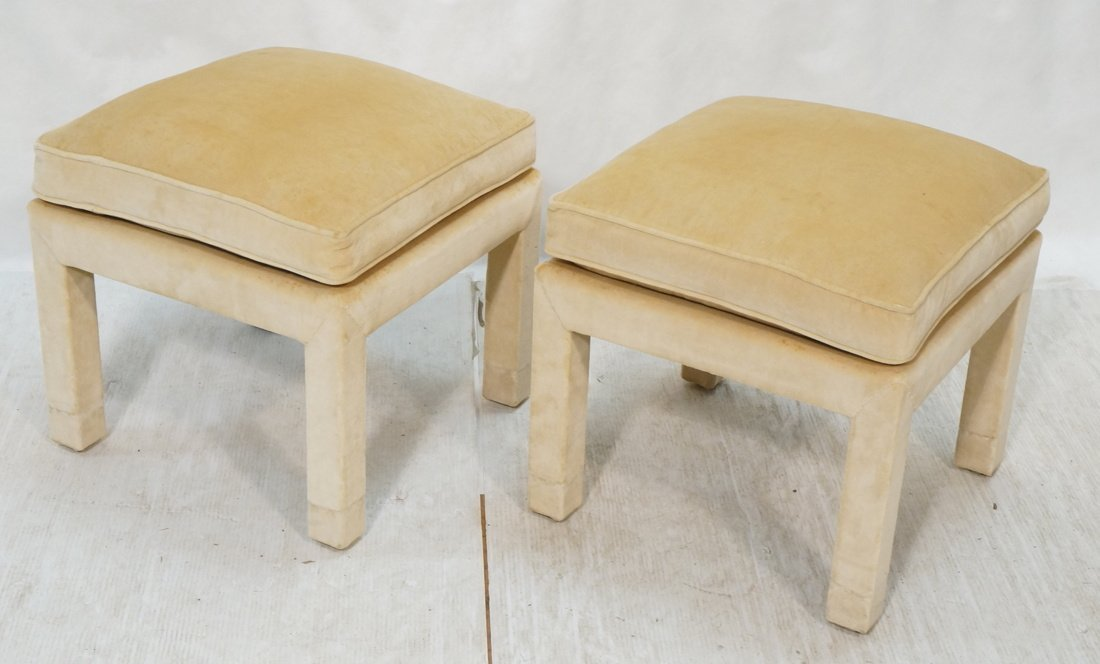 Pr Upholstered Stools Benches. Parson style stool