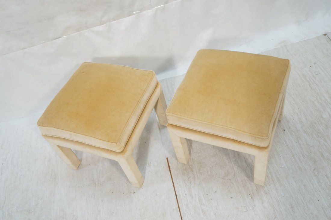 Pr Upholstered Stools Benches. Parson style stool - 2