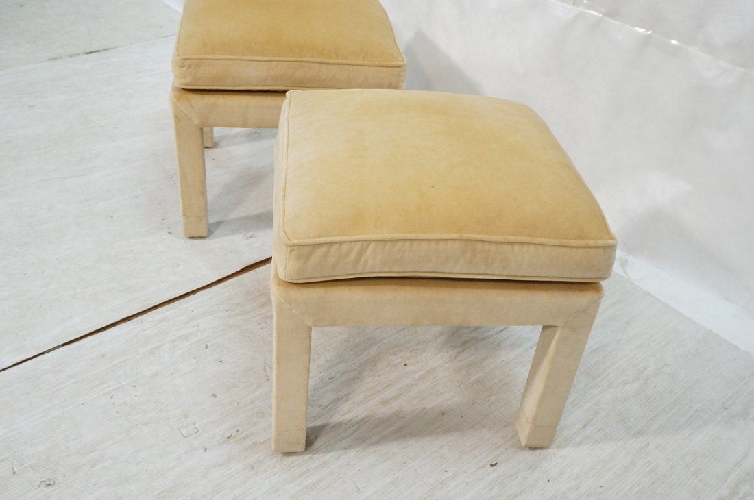 Pr Upholstered Stools Benches. Parson style stool - 3