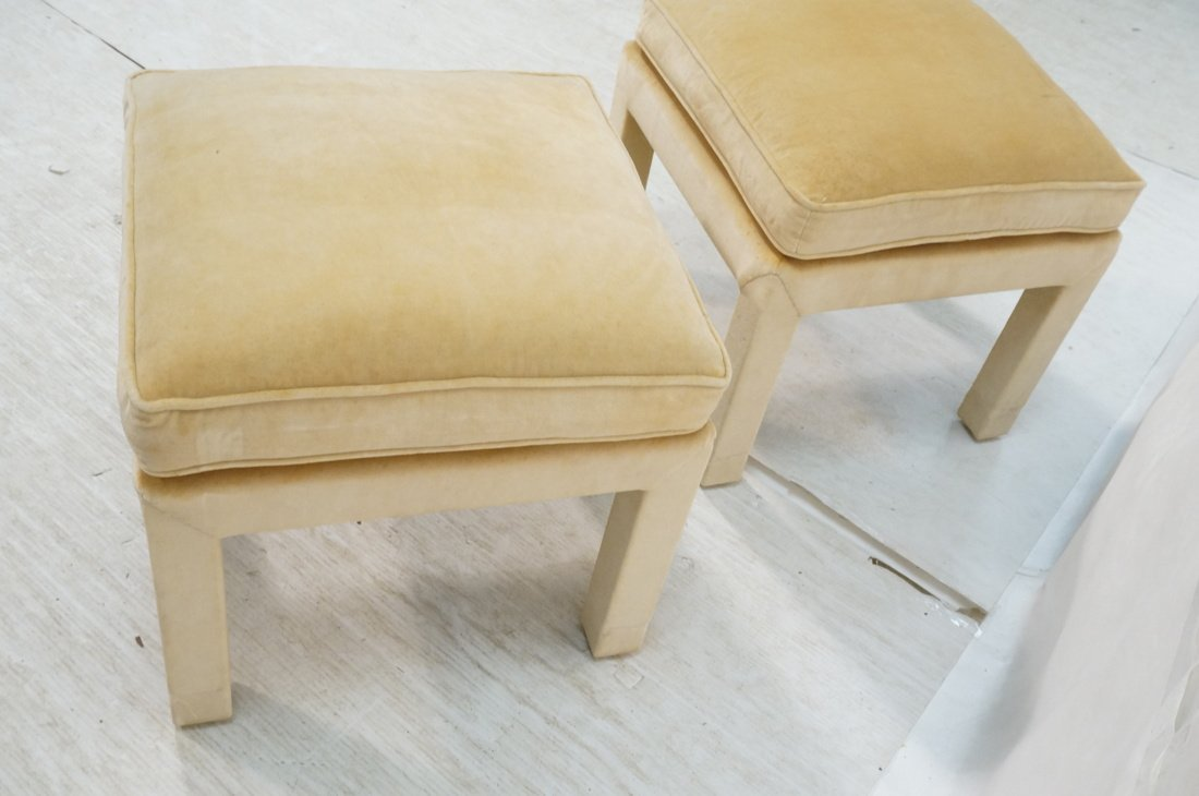 Pr Upholstered Stools Benches. Parson style stool - 6