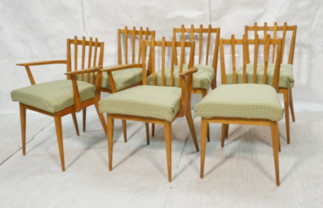 Set 6 Blond Wood Dining Chairs. Slat backs. Edmun