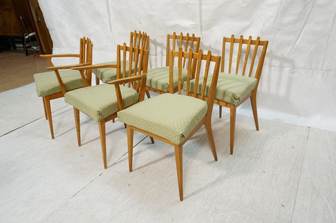 Set 6 Blond Wood Dining Chairs. Slat backs. Edmun - 2