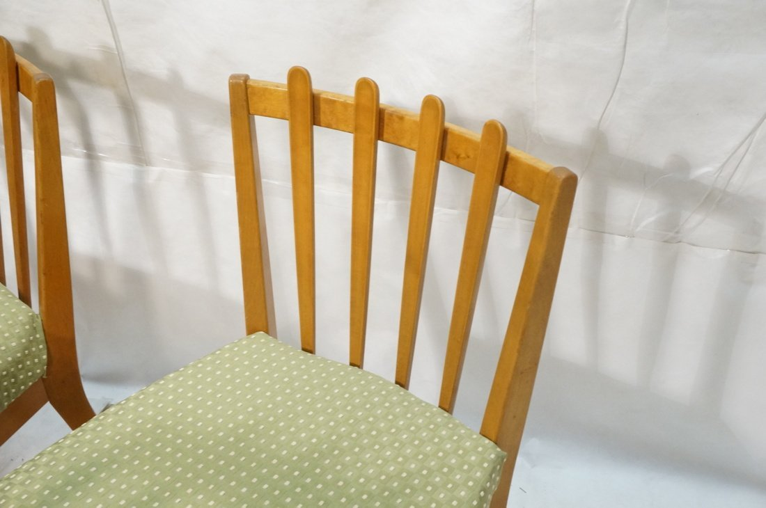 Set 6 Blond Wood Dining Chairs. Slat backs. Edmun - 3