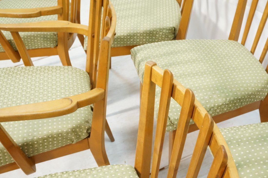 Set 6 Blond Wood Dining Chairs. Slat backs. Edmun - 4