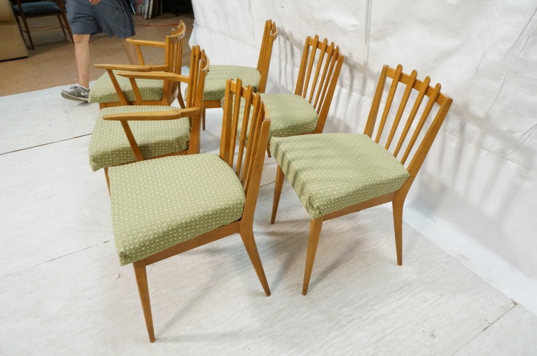 Set 6 Blond Wood Dining Chairs. Slat backs. Edmun - 6