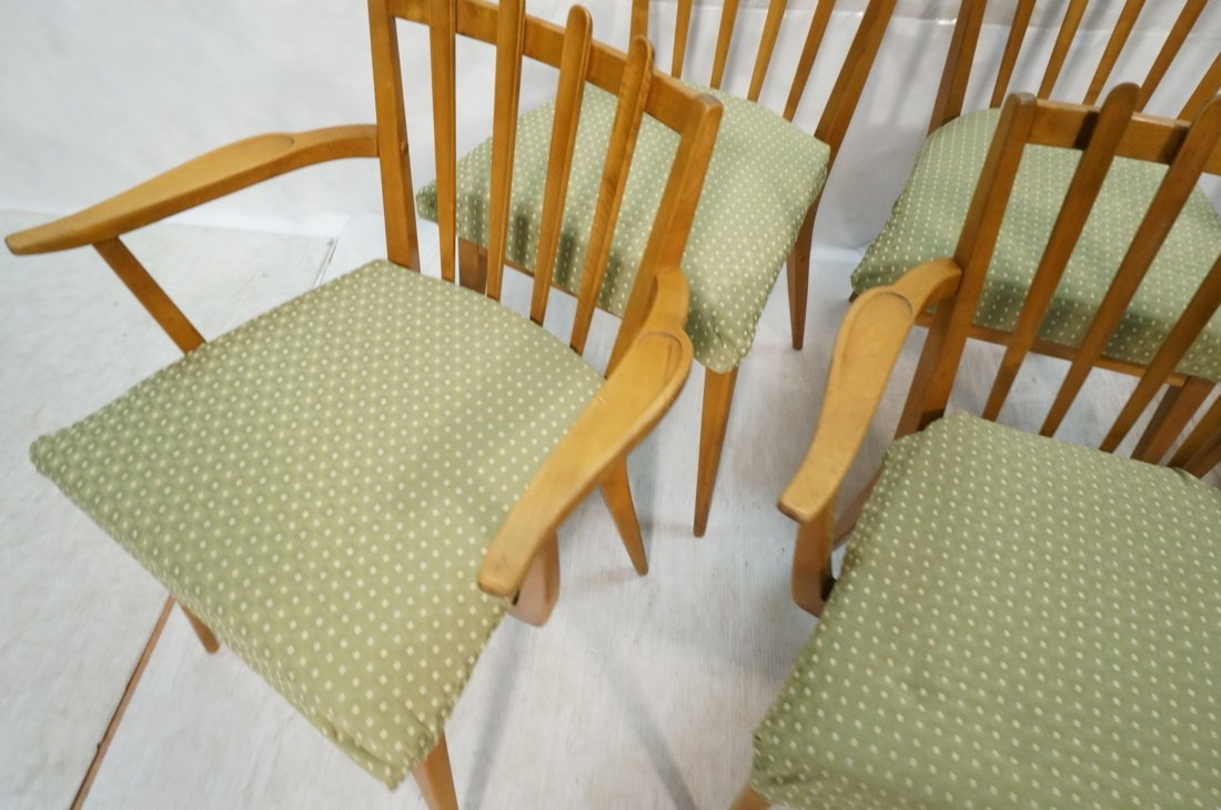 Set 6 Blond Wood Dining Chairs. Slat backs. Edmun - 7