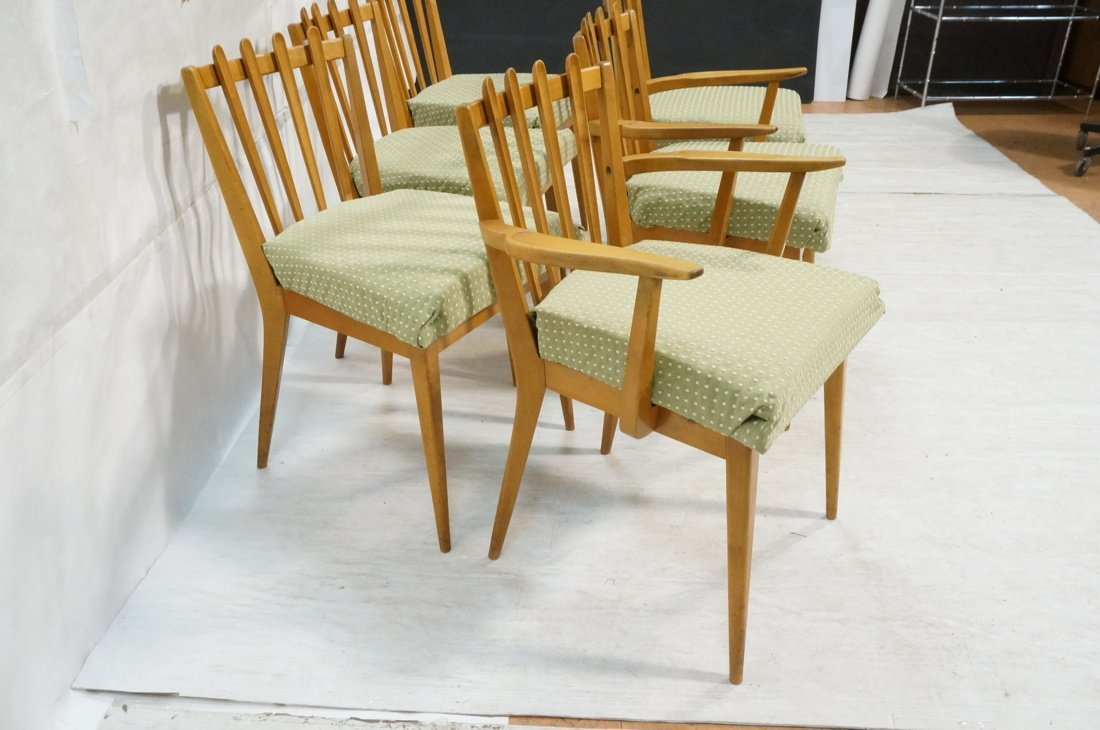 Set 6 Blond Wood Dining Chairs. Slat backs. Edmun - 9
