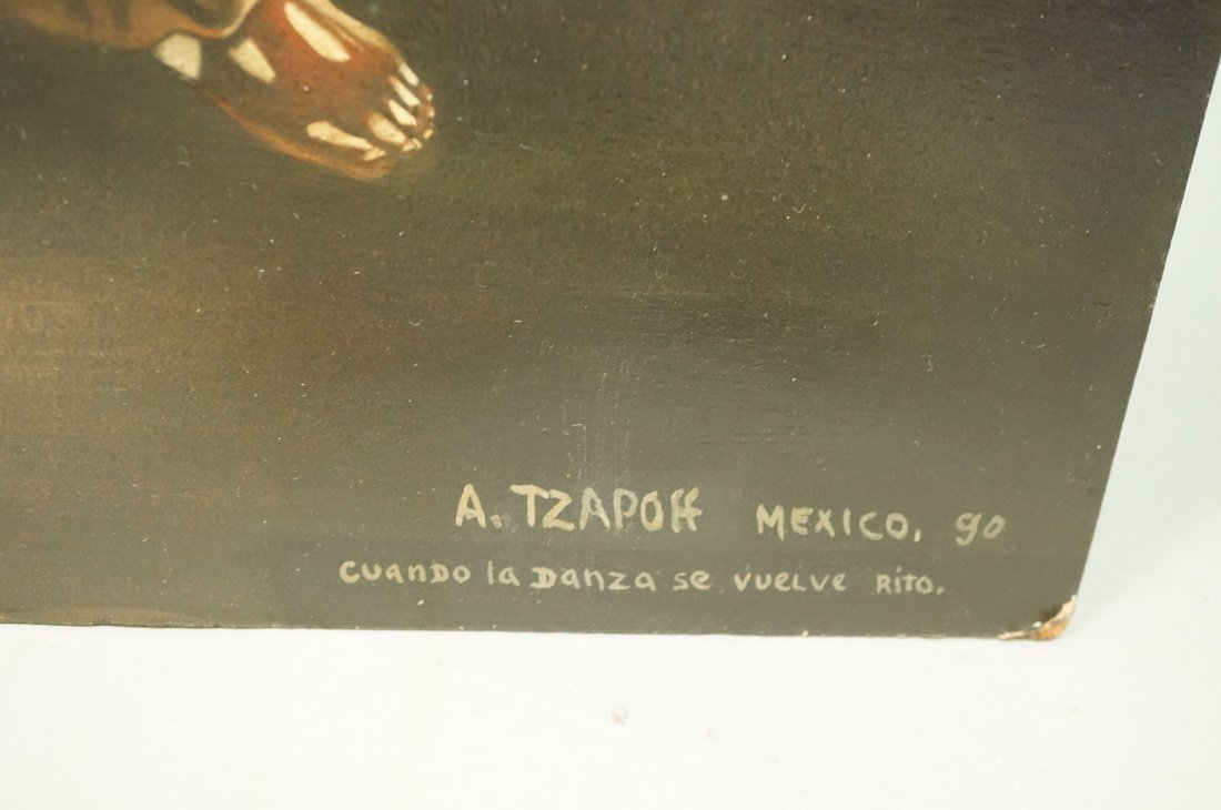 A. TZAPOFF Mexican Oil on Board Painting. Heavily - 7