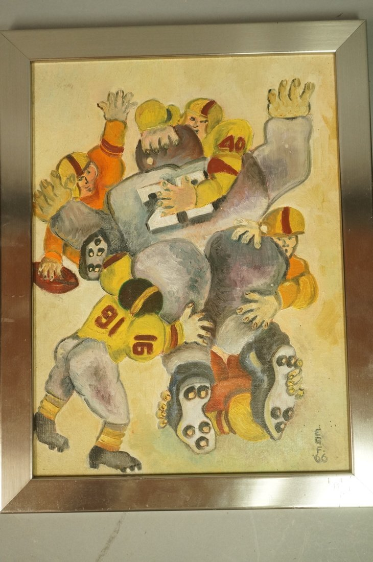 ESTHER G FREEDMAN Oil on Board Painting. Football