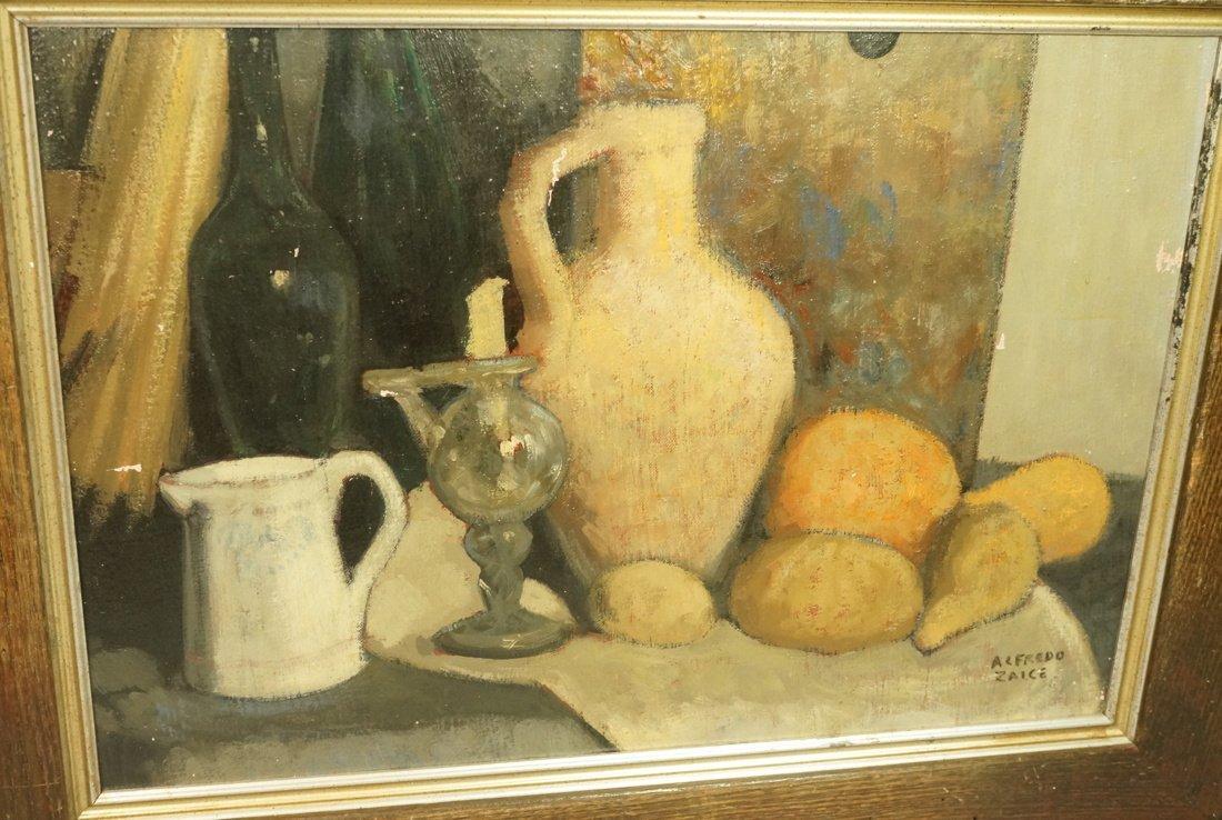 ALFREDO ZALCE Signed Modernist Oil Painting Still