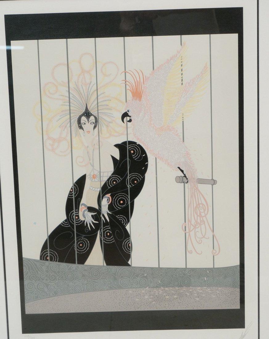 ERTE Pencil signed Print Lady in elaborate headdr