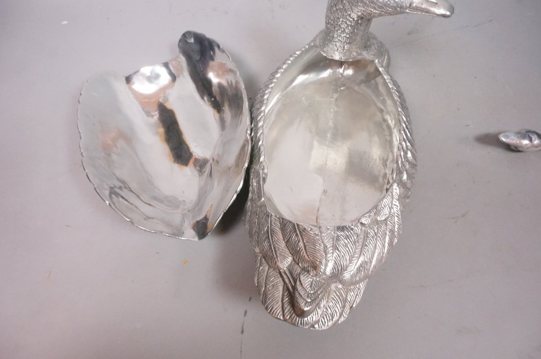 ARTHUR COURT Pewter Duck Lidded Tureen & Spoon. - 6