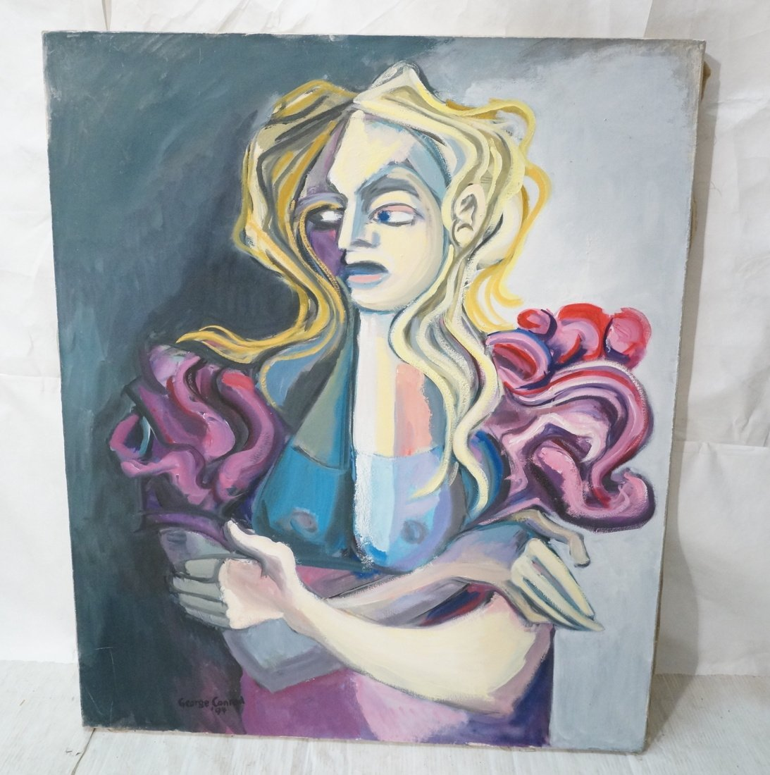 Signed GEORGE CONRAD Oil Painting. Blonde Female