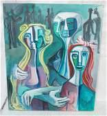 Signed GEORGE CONRAD Cubist Oil Painting Triple
