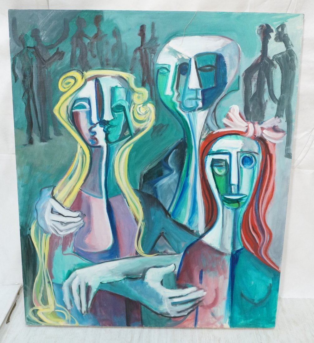 Signed GEORGE CONRAD Cubist Oil Painting. Triple