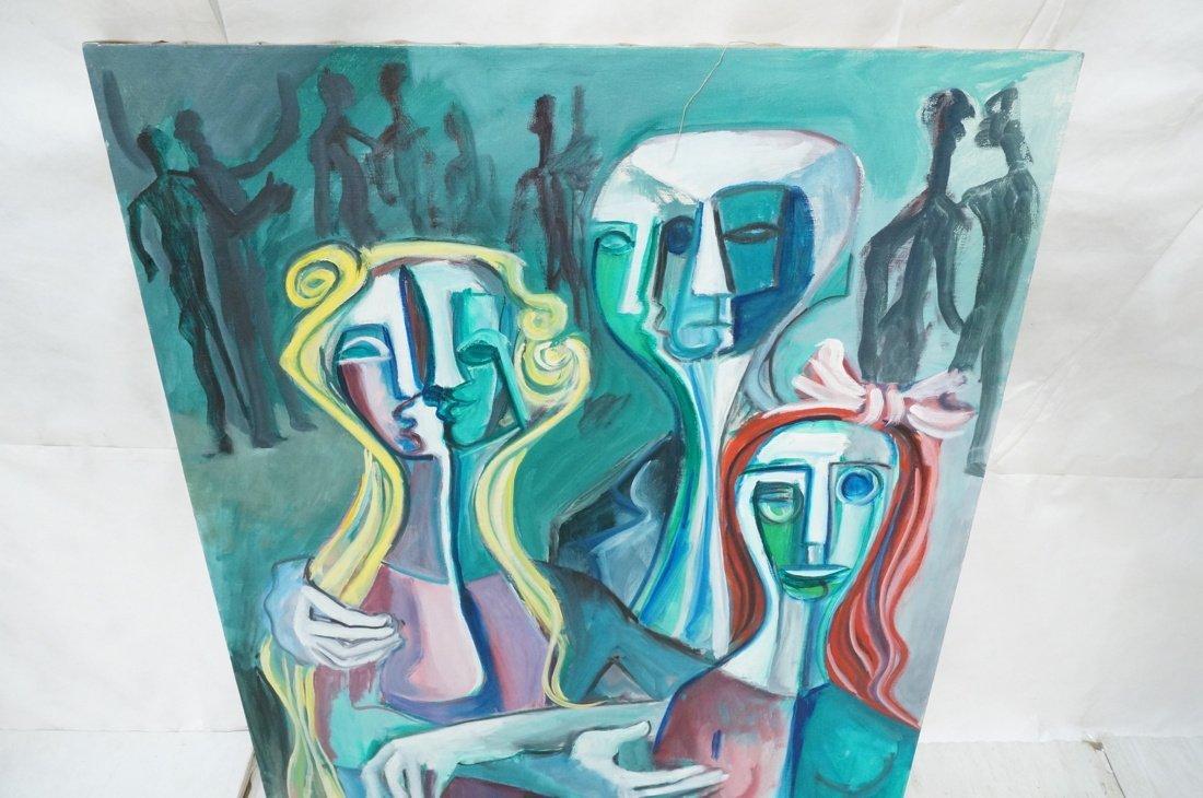 Signed GEORGE CONRAD Cubist Oil Painting. Triple - 2