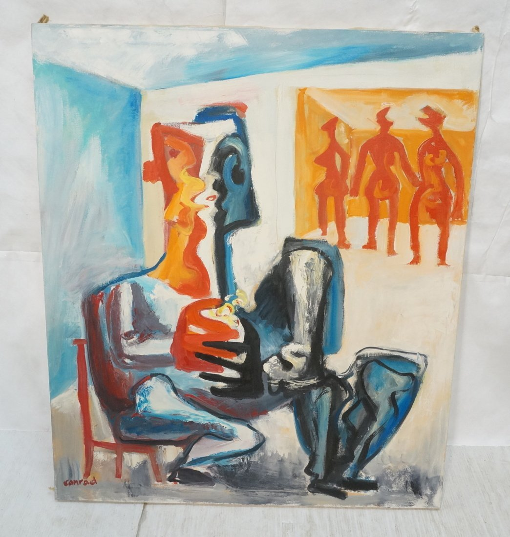 Signed GEORGE CONRAD Oil Painting. Seated Figure