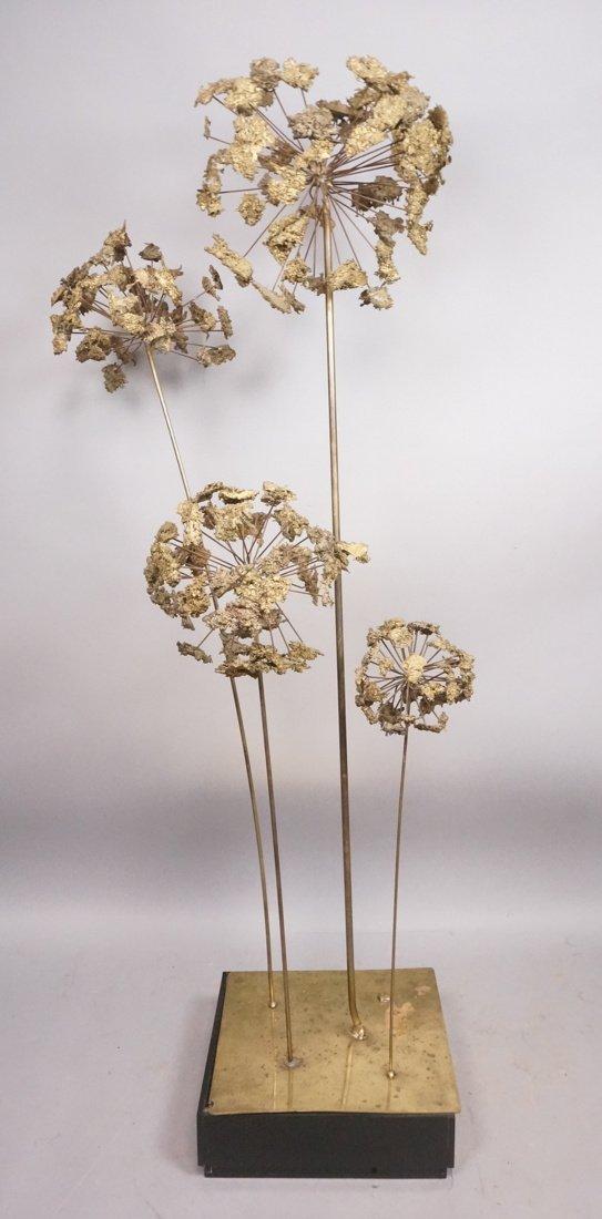 Brutalist Metal Pom Pom Flower Table Sculpture. F