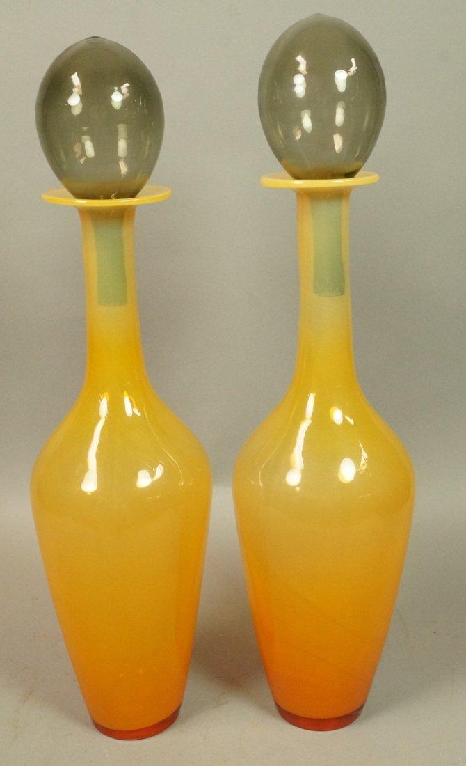Pr Modernist Art Glass Stoppered Bottles. Amber G