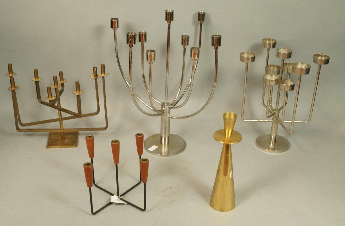 Lot 5 Metal Candle Sticks Candelabra. Modernist.