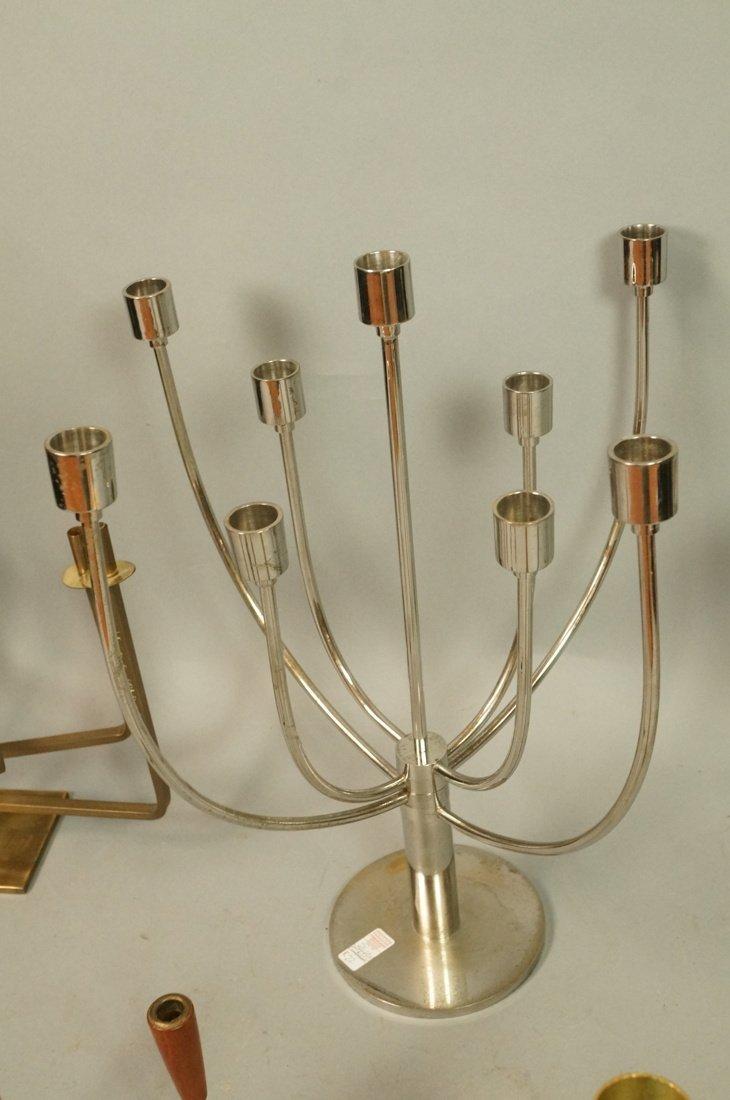 Lot 5 Metal Candle Sticks Candelabra. Modernist. - 5