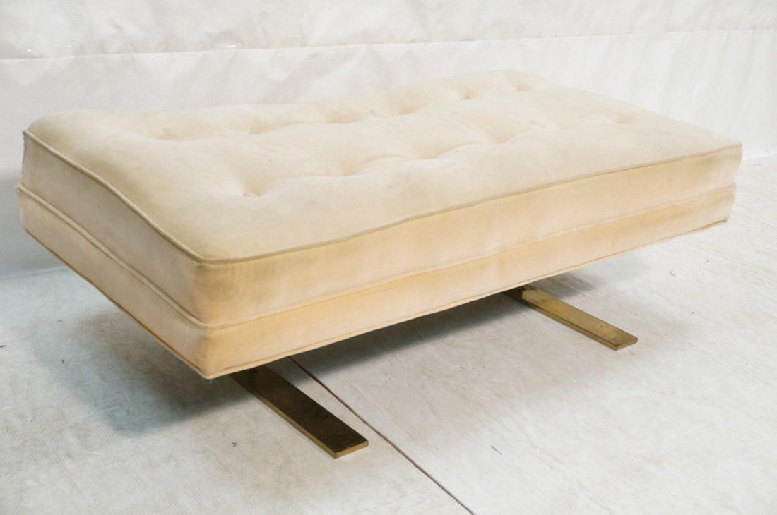 Wide Upholstered Modernist Bench. Tufted Tan Velvet