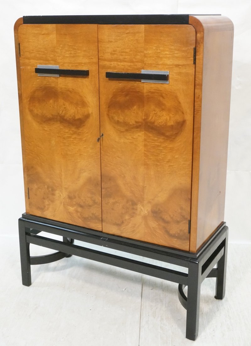 Art Deco WALTER DORWIN TEAGUE Cabinet. Burl wood