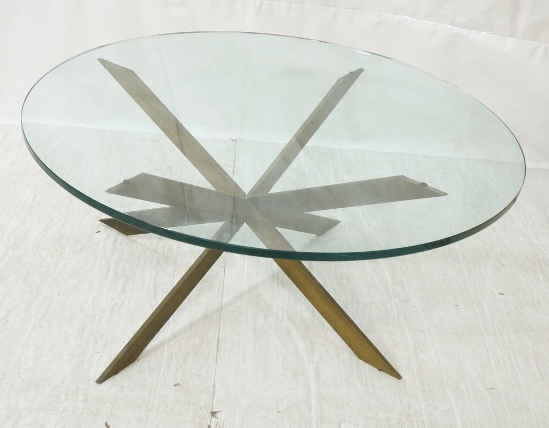 LEON PACE Glass Top Coffee Table. Brushed Metal C
