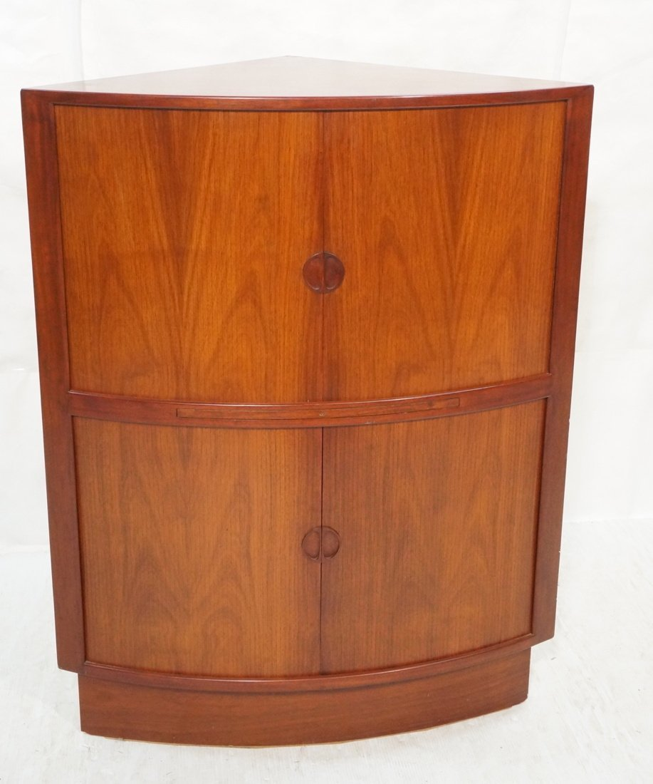 Rosewood Corner Bar Cabinet. Two levels with tambour