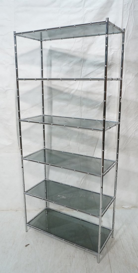 Chrome Faux Bamboo Etagere Shelf Unit. Smoked Gla