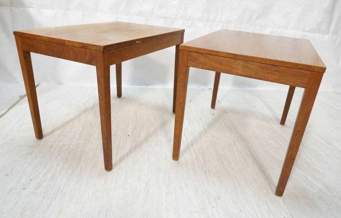 Pr GEORGE NELSON Walnut Side Tables. Square wood