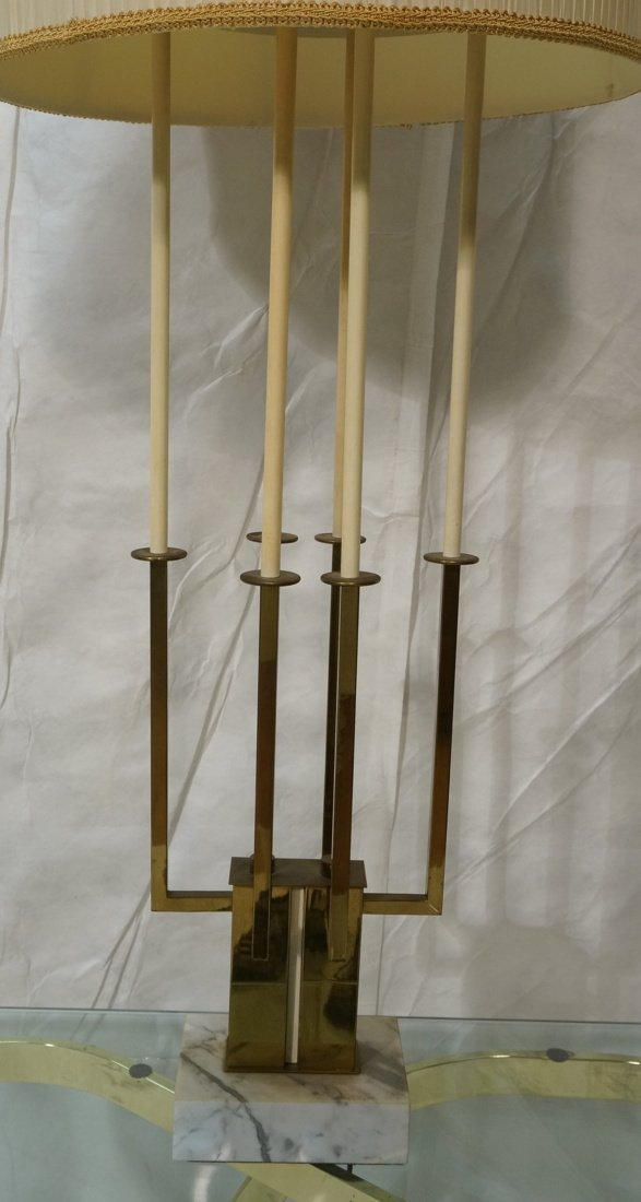 Tall PARZINGER style Four Arm Table Lamp. Thin br