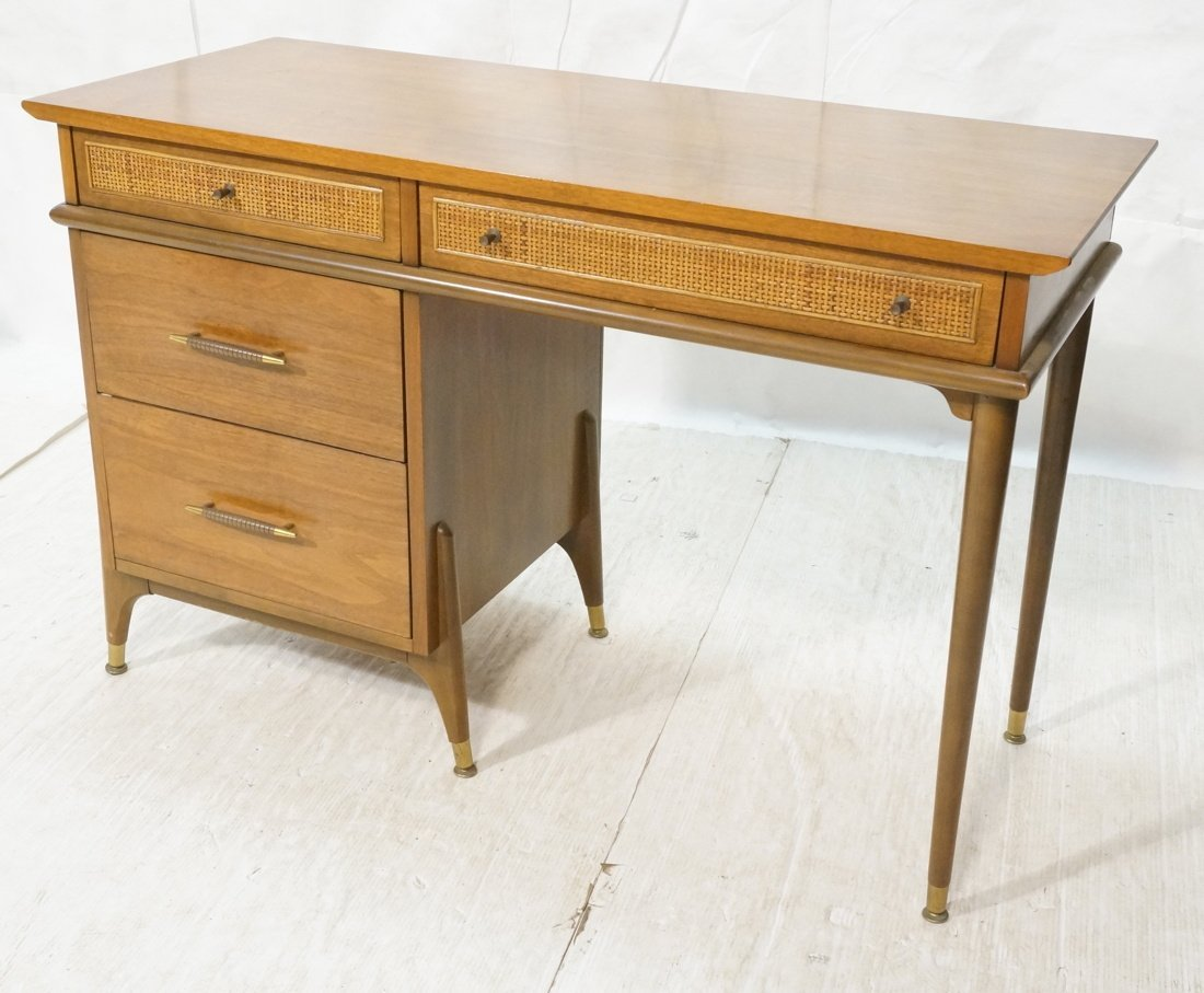 Modernist Walnut Desk. Two Caned front drawers. M