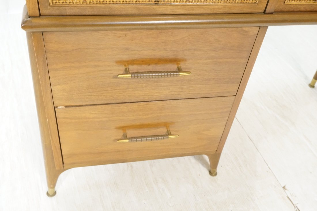 Modernist Walnut Desk. Two Caned front drawers. M - 3
