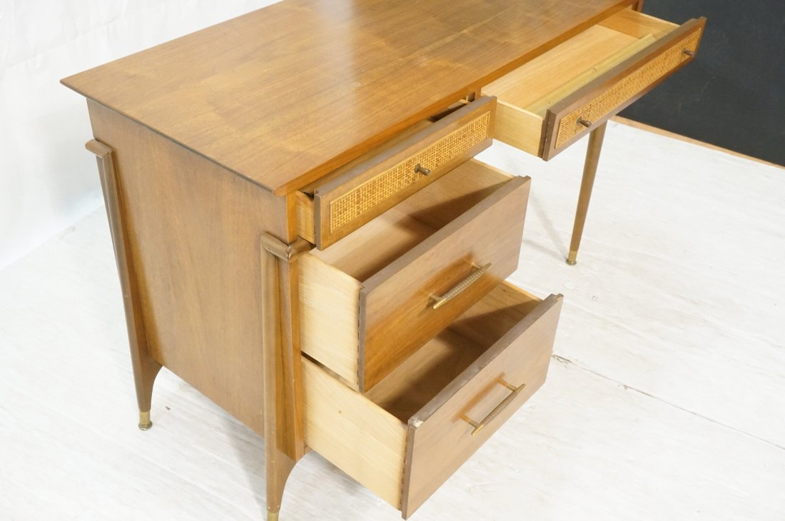 Modernist Walnut Desk. Two Caned front drawers. M - 6