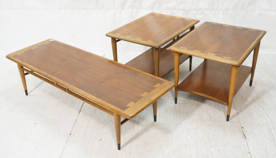 Set 3pc LANE Coffee & End Table Set. Inlaid desig