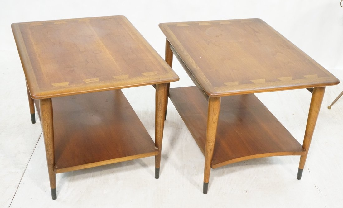 Pr LANE End Tables. Inlaid design elements. Side