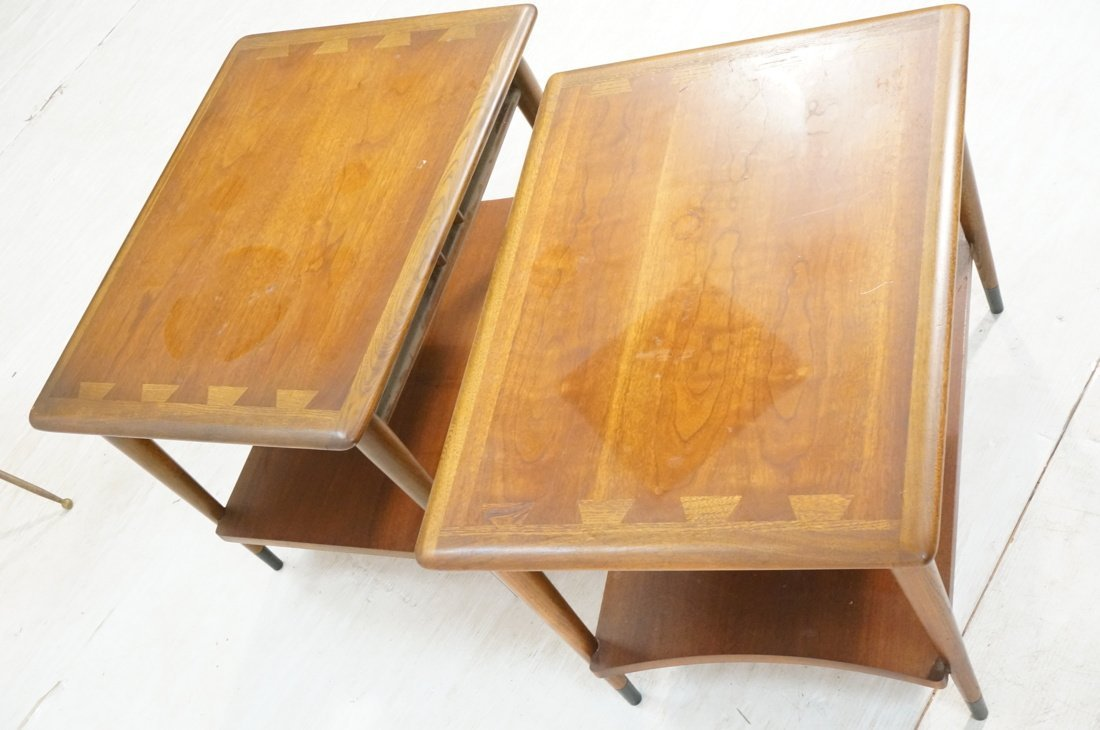 Pr LANE End Tables. Inlaid design elements. Side - 3