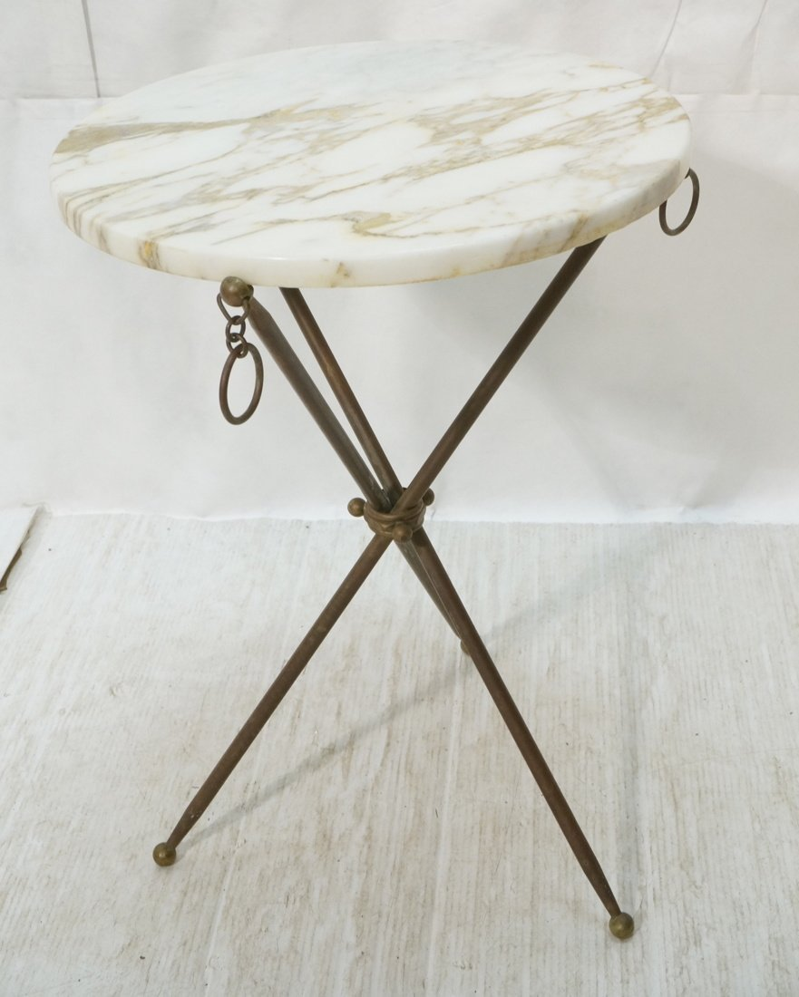 Brass Tripod Marble Top Round Side Table. Brass D