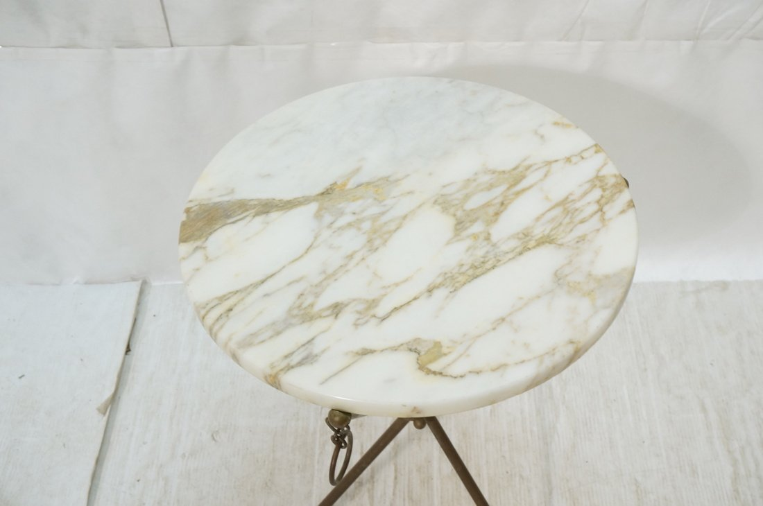 Brass Tripod Marble Top Round Side Table. Brass D - 2
