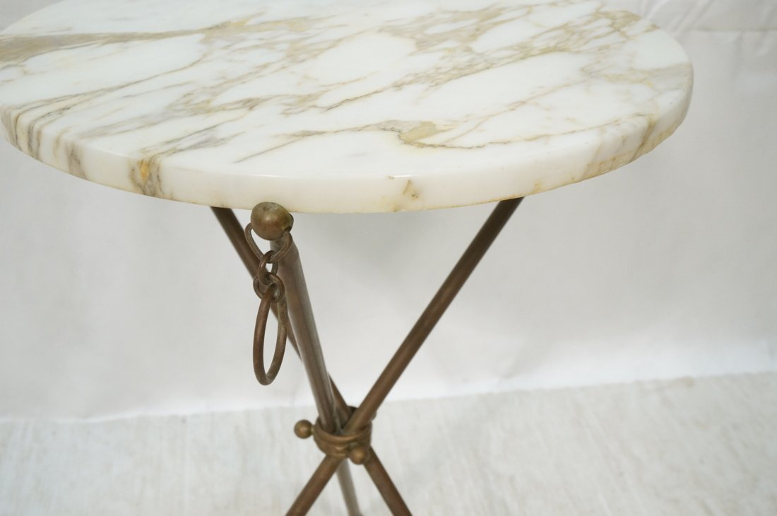 Brass Tripod Marble Top Round Side Table. Brass D - 3