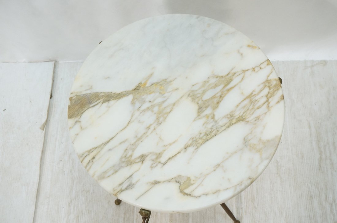 Brass Tripod Marble Top Round Side Table. Brass D - 5