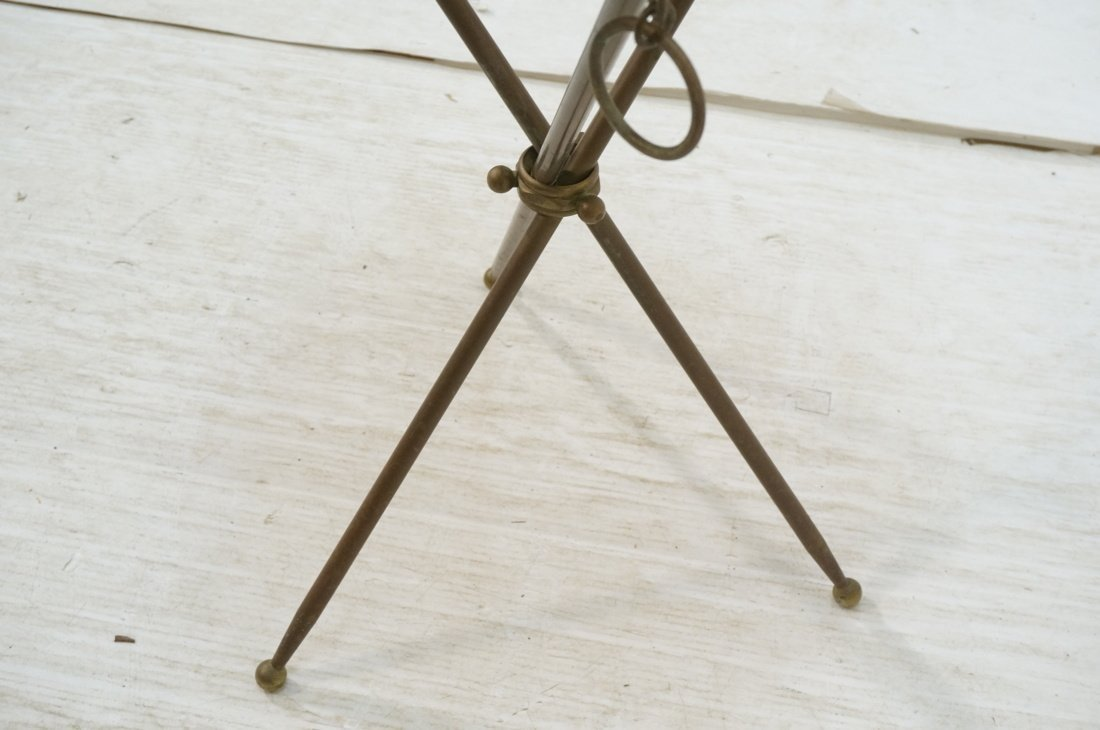 Brass Tripod Marble Top Round Side Table. Brass D - 6
