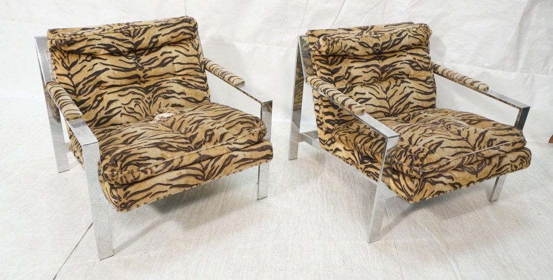 Pr Chrome MILO BAUGHMAN style Arm Lounge Chairs.
