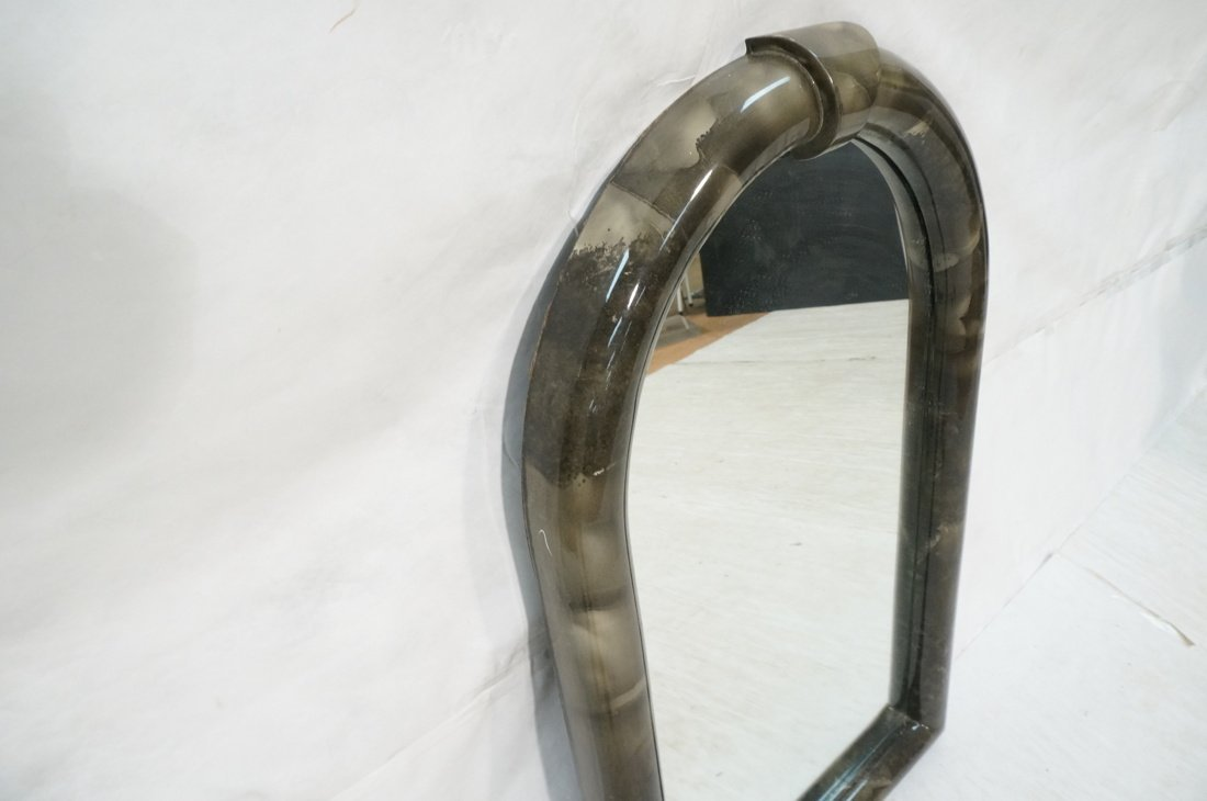 KARL SPRINGER style Lacquered Gray Arched Mirror. - 4