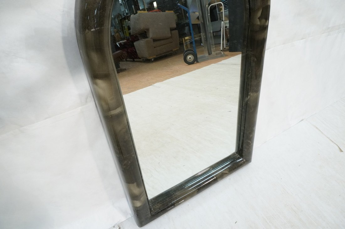 KARL SPRINGER style Lacquered Gray Arched Mirror. - 5